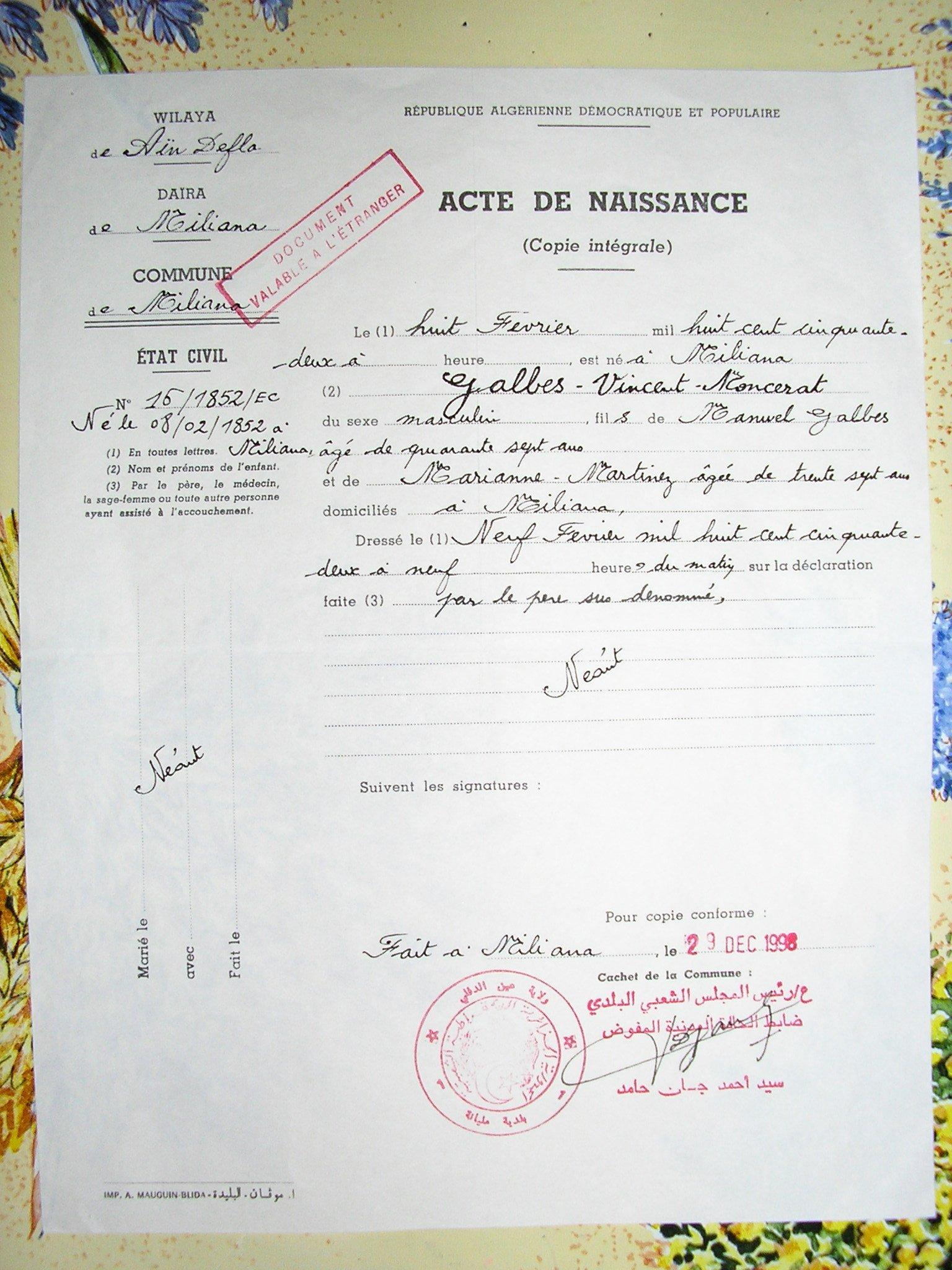 heureusement lacte de naissance ci dessous du baptis ne comporte aucune erreur - Transcription Acte De Mariage Franco Algrien